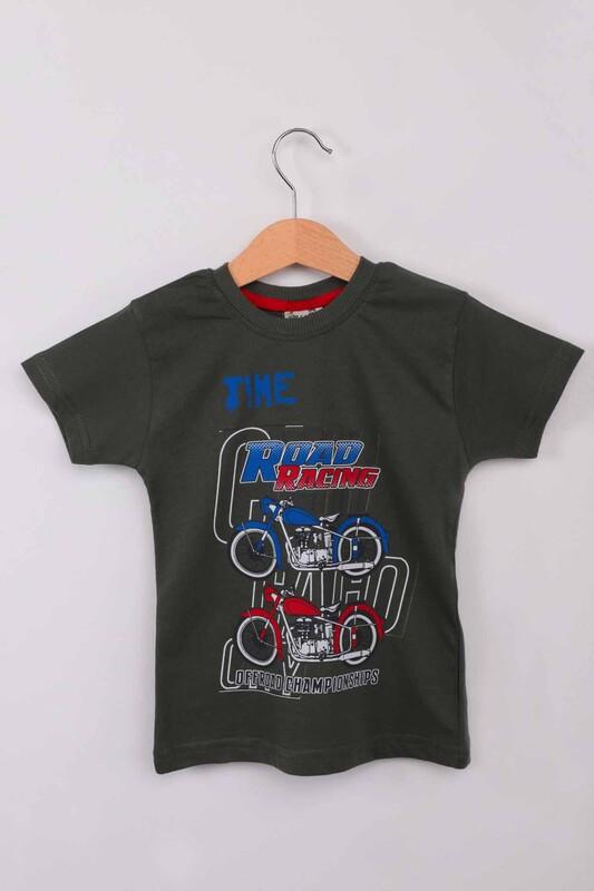 WALOX - Baskılı Kısa Kollu Erkek Çocuk T-shirt 008 | Haki