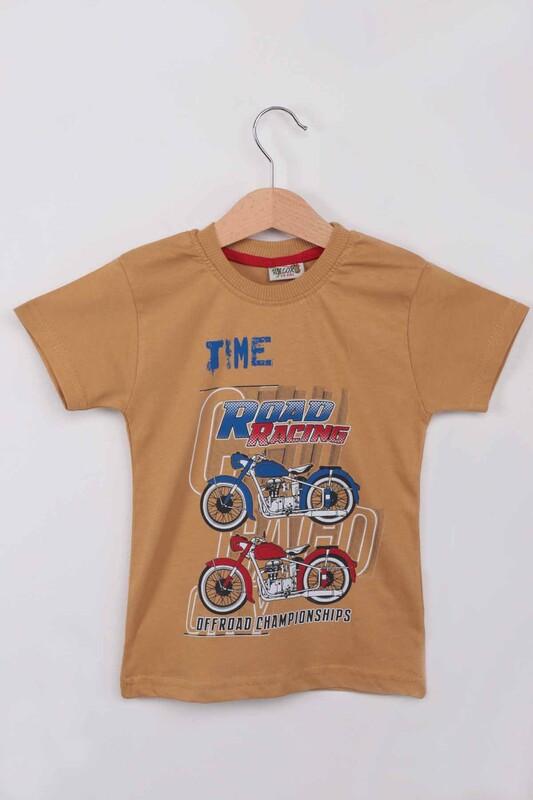 WALOX - Baskılı Kısa Kollu Erkek Çocuk T-shirt 008 | Hardal