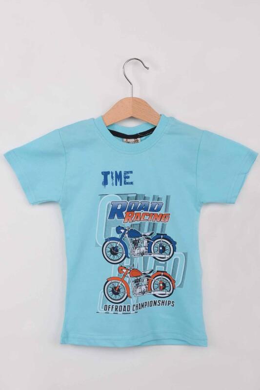 WALOX - Baskılı Kısa Kollu Erkek Çocuk T-shirt 008 | Mint