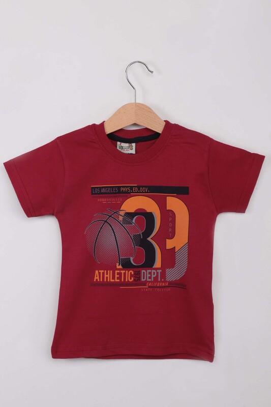 WALOX - Baskılı Kısa Kollu Erkek Çocuk T-shirt 009 | Bordo