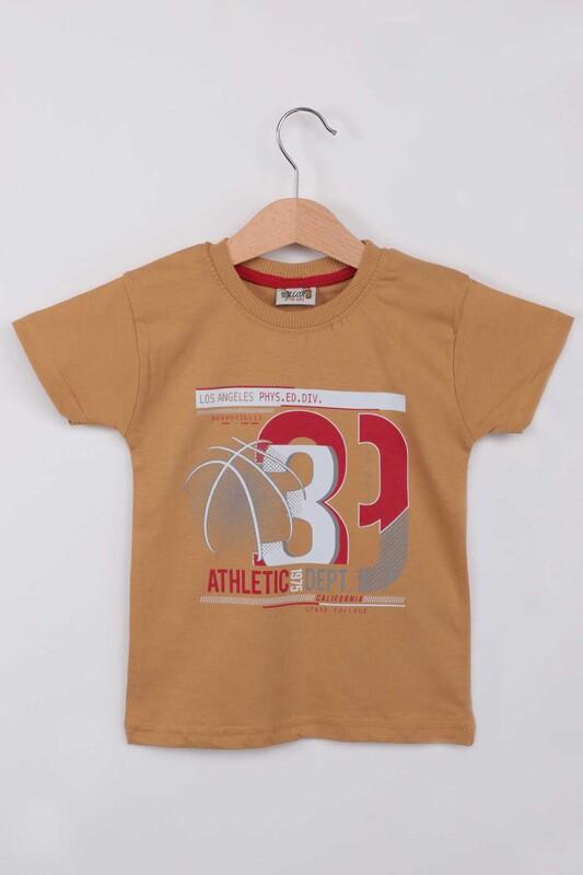 WALOX - Baskılı Kısa Kollu Erkek Çocuk T-shirt 009 | Hardal
