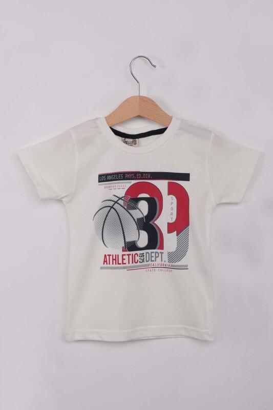 WALOX - Baskılı Kısa Kollu Erkek Çocuk T-shirt 009 | Krem