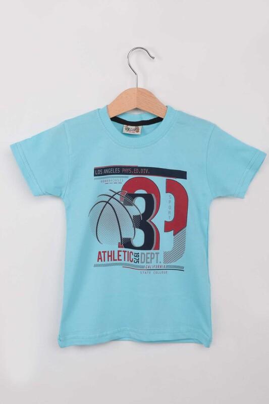 WALOX - Baskılı Kısa Kollu Erkek Çocuk T-shirt 009 | Mint