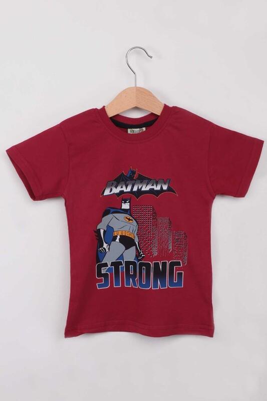 WALOX - Baskılı Erkek Çocuk Tshirt 1216| Bordo