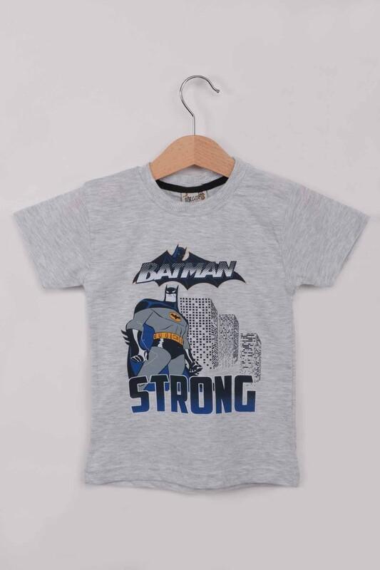 WALOX - Baskılı Erkek Çocuk Tshirt 1216  Gri