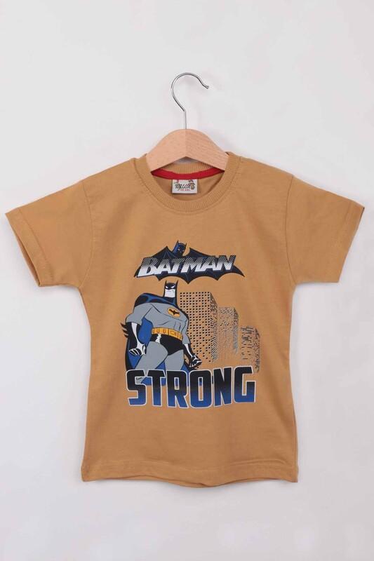 WALOX - Baskılı Erkek Çocuk Tshirt 1216 | Hardal