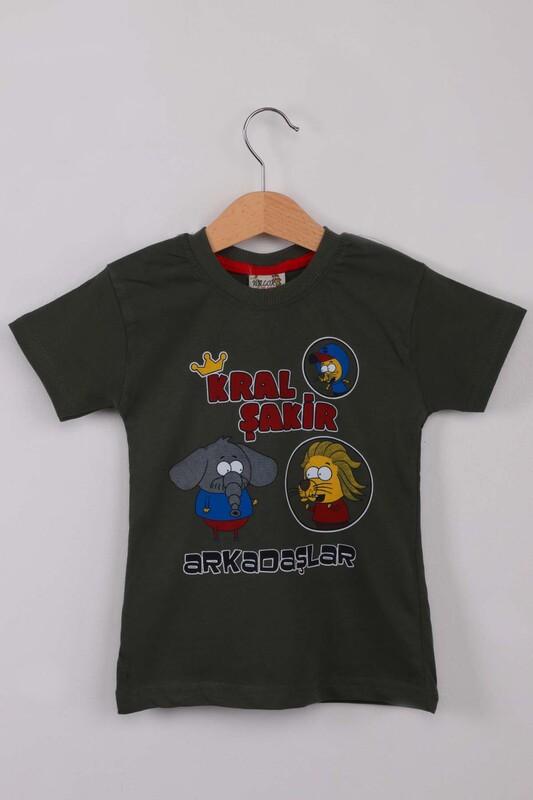 WALOX - Baskılı Erkek Çocuk Tshirt 1214   Haki