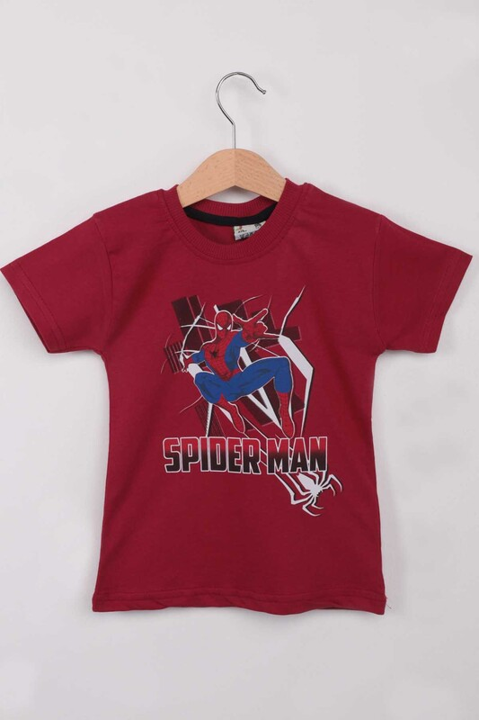 WALOX - Baskılı Erkek Çocuk Tshirt 1215  Bordo