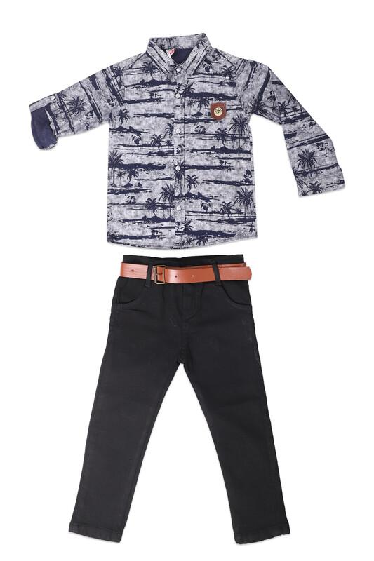 AYNUR BEBE - Desenli Gömlek ve Pantolon Erkek Çocuk 3'lü Takım 919 | Lacivert