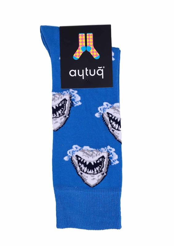 AYTUĞ - Aytuğ Köpek Balığı Desenli Erkek Çorap 2433 | Mavi