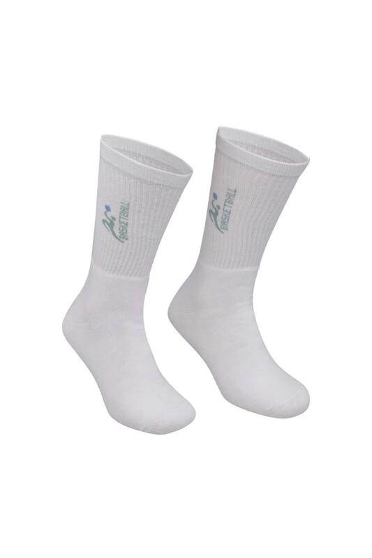 DÜNDAR - Erkek Desenli Tenis Havlu Çorap 7002 | Beyaz