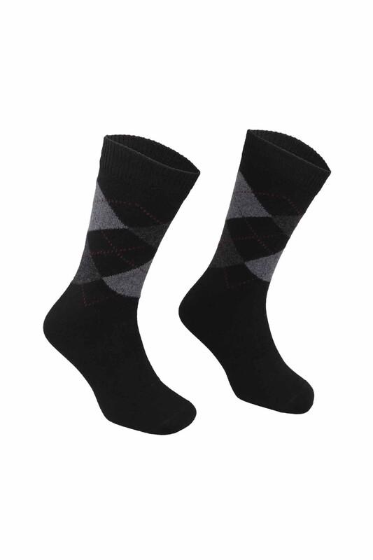 PİERRE CARDİN - Pierre Cardin Baklava Desenli Erkek Yün Çorap 501 | Siyah