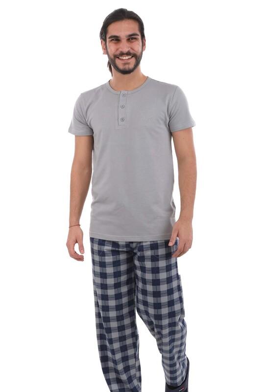 AYDOĞAN - Aydoğan Kısa Kol Modal Erkek Pijama Takımı 7817 | Gri