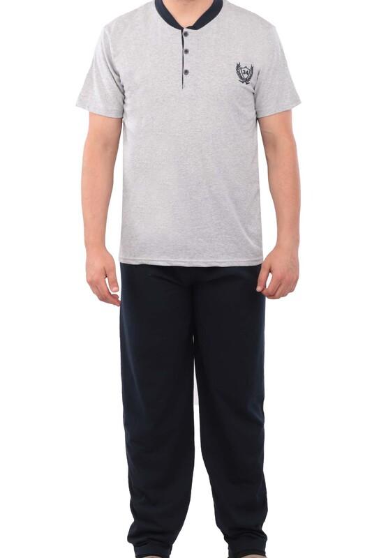 ERCAN - Düğmeli Kısa Kollu Erkek Pijama Takımı 046   Gri