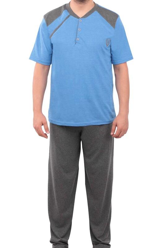 ERCAN - Düğmeli Kısa Kollu Erkek Pijama Takımı 039   Mavi