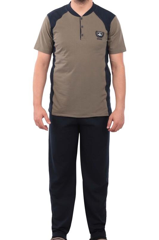 ERCAN - Düğmeli Kısa Kollu Erkek Pijama Takımı 042   Haki