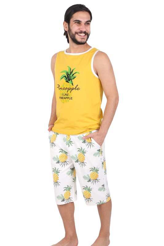 JİBER - Jiber Ananas Desenli Erkek Kapri Pijama Takımı 4611 | Sarı