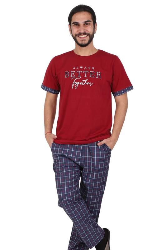 POLEREN - Poleren Pijama Takımı 6045 | Bordo