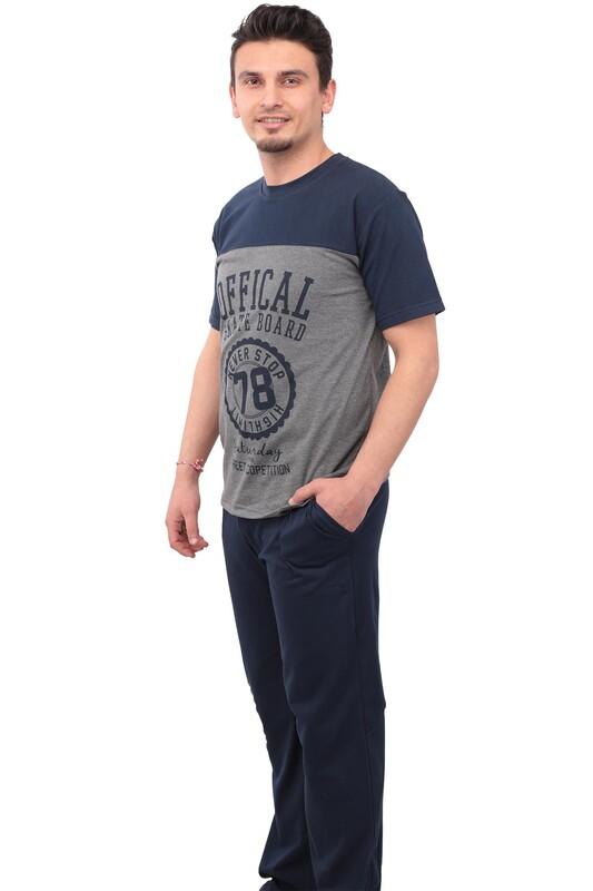 SUDE - Sude Desenli Kısa Kollu Erkek Pijama Takımı 05 | Gri