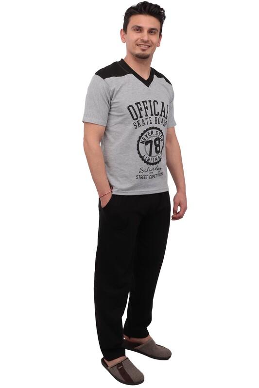 SUDE - Sude Kısa Kolu Erkek Pijama Takımı 012 | Gri