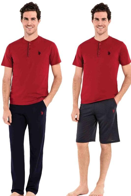 U.S. POLO - U.S. Polo Erkek Pijama Takımı 3'lü 12005 | Bordo