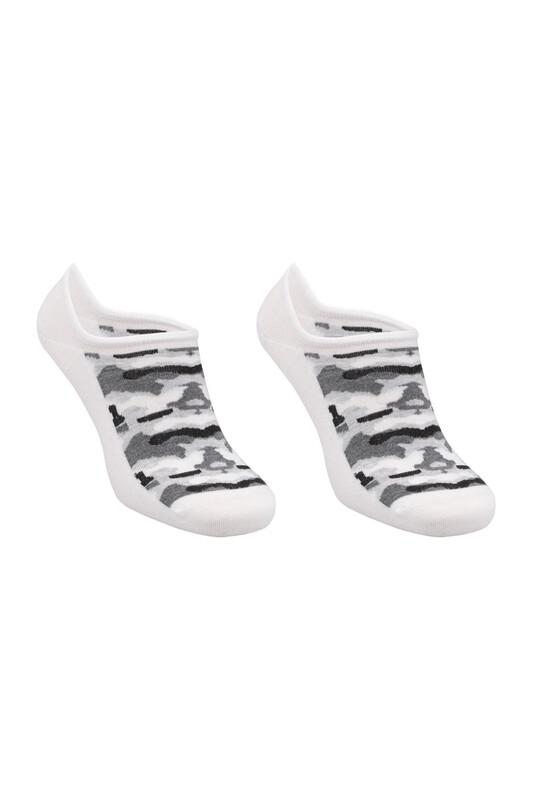 SİMİSSO - Bambu Kamuflaj Desen Erkek Sneakers Çorap | Beyaz