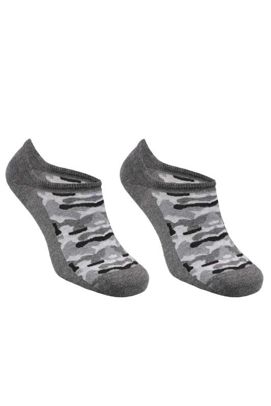 SİMİSSO - Bambu Kamuflaj Desen Erkek Sneakers Çorap | Füme