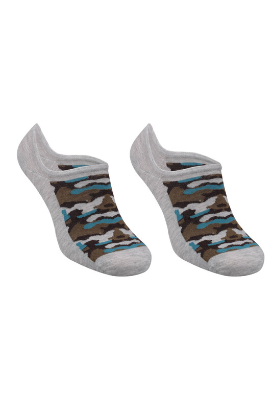 SİMİSSO - Bambu Kamuflaj Desen Erkek Sneakers Çorap | Gri Mavi