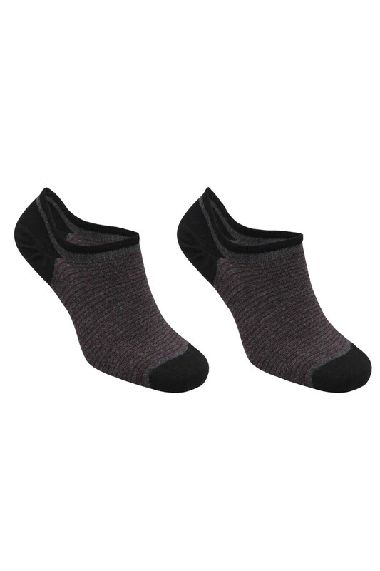 SİMİSSO - Bambu Çizgili Erkek Sneakers Çorap | Antrasit