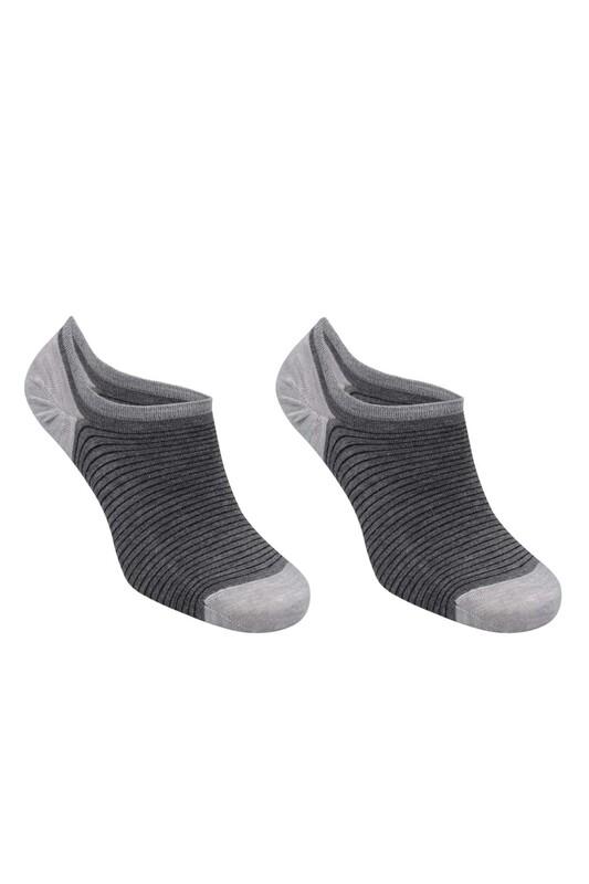 SİMİSSO - Bambu Çizgili Erkek Sneakers Çorap | Füme