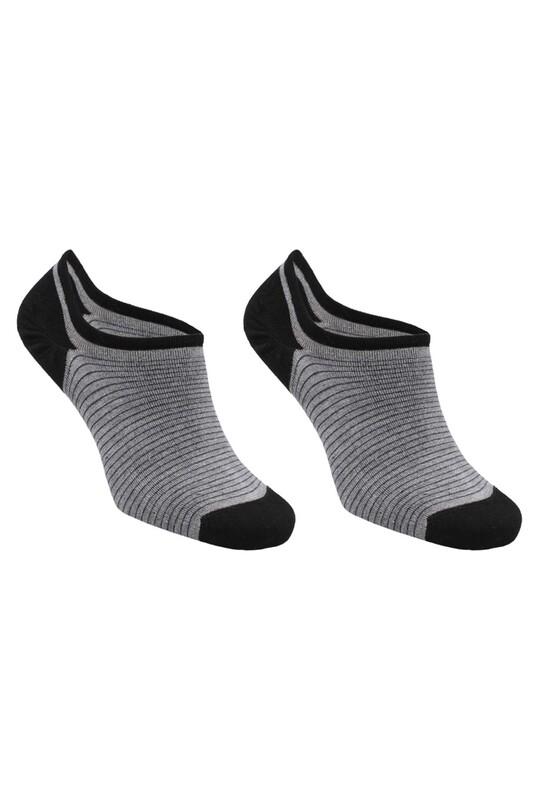 SİMİSSO - Bambu Çizgili Erkek Sneakers Çorap | Gri