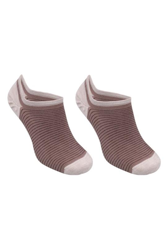 SİMİSSO - Bambu Çizgili Erkek Sneakers Çorap | Kahve