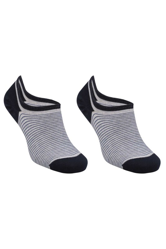 SİMİSSO - Bambu Çizgili Erkek Sneakers Çorap | Lacivert