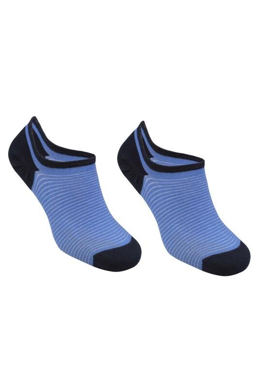 SİMİSSO - Bambu Çizgili Erkek Sneakers Çorap | Mavi
