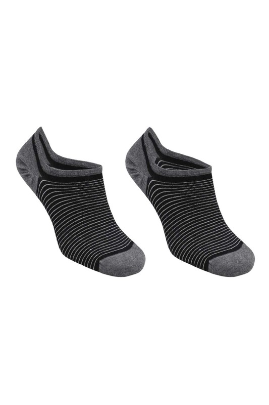 SİMİSSO - Bambu Çizgili Erkek Sneakers Çorap | Siyah