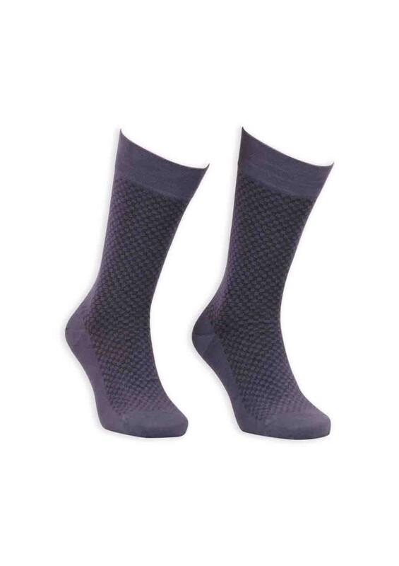 Bordo - Bordo Bambu Dikişsiz Erkek Çorap EBK1004 | Füme