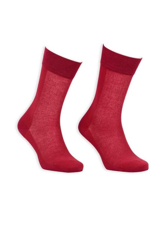 Bordo - Bordo Cotton Dikişsiz Erkek Çorap SM31007-14 | Kırmızı