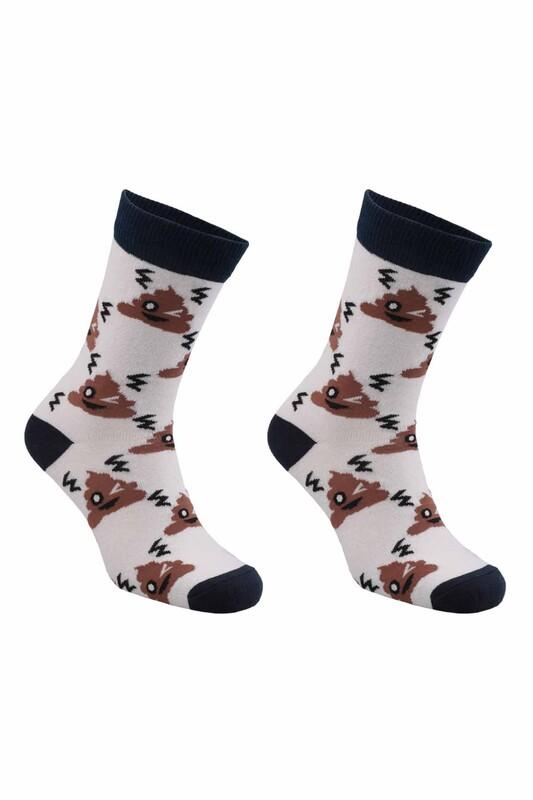 RETRO - Emoji Desenli Çorap   Kahverengi
