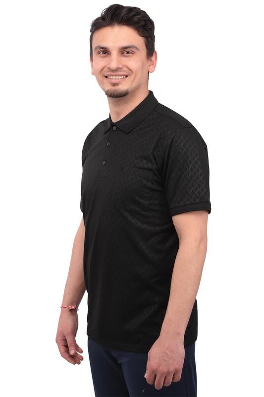 Real Rock - Real Rock Jakarlı Polo Yaka Erkek Tshirt | Siyah
