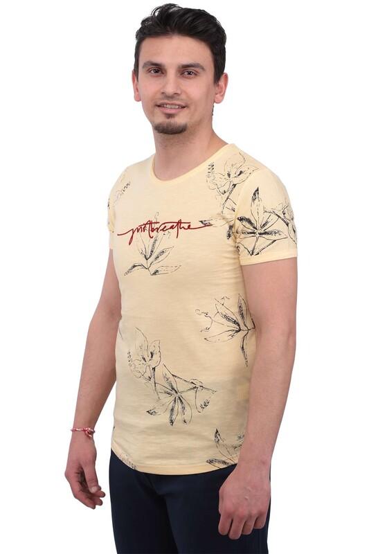 Real Rock - Real Rock Yazı Baskılı Erkek Tshirt | Sarı