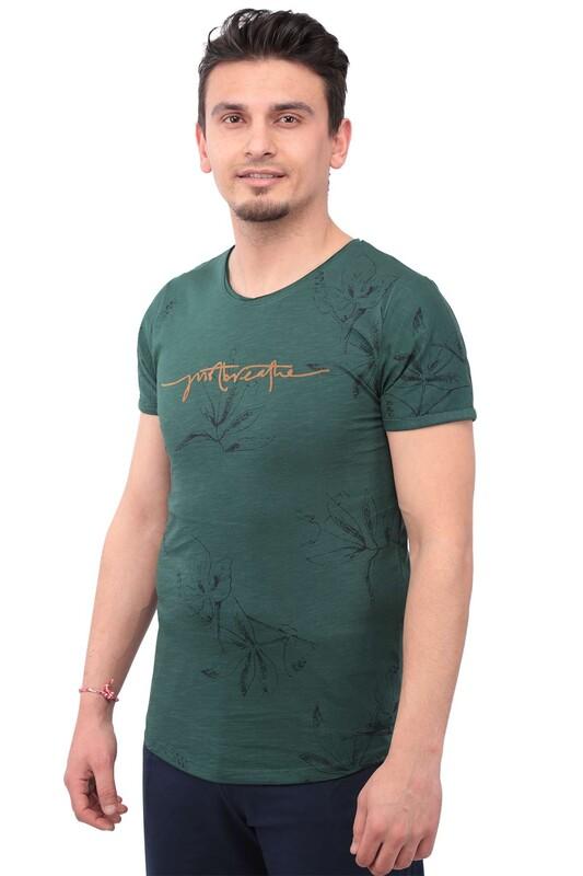 Real Rock - Real Rock Yazı Baskılı Erkek Tshirt | Yeşil