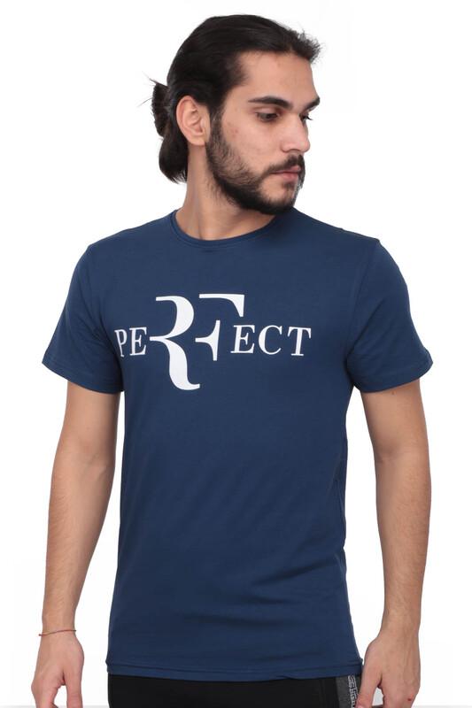 SİMİSSO - Baskılı Kısa Kollu Erkek T-shirt 005   Lacivert
