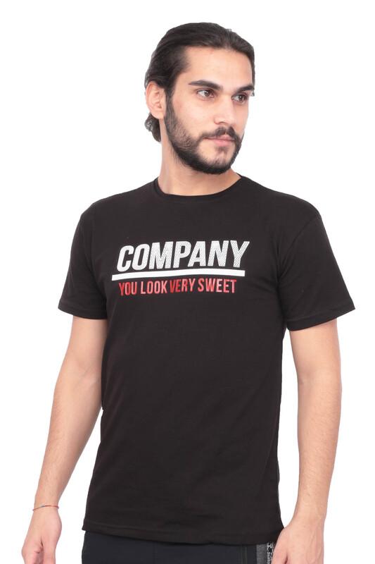 SİMİSSO - Baskılı Kısa Kollu Erkek T-shirt | Siyah