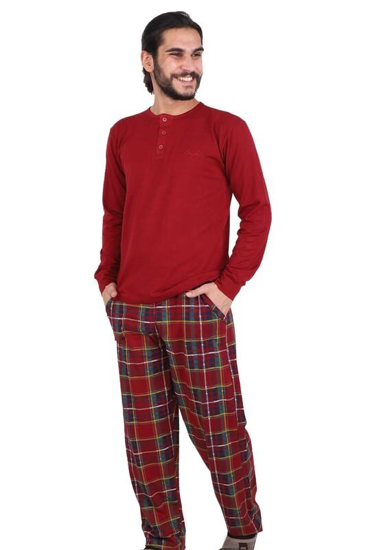 AYDOĞAN - Aydoğan Uzun Kol Modal Erkek Pijama Takım 3943 | Kırmızı
