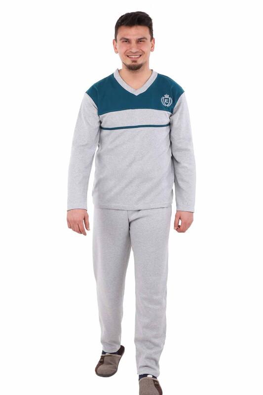 ERCAN - Çizgili Uzun Kollu Erkek Pijama Takımı E-012 | Gri