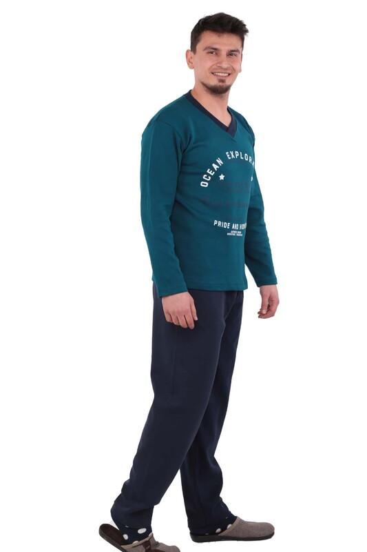 ERCAN - Yazı Baskılı Uzun Kollu Erkek Pijama Takımı 13059 | Mavi