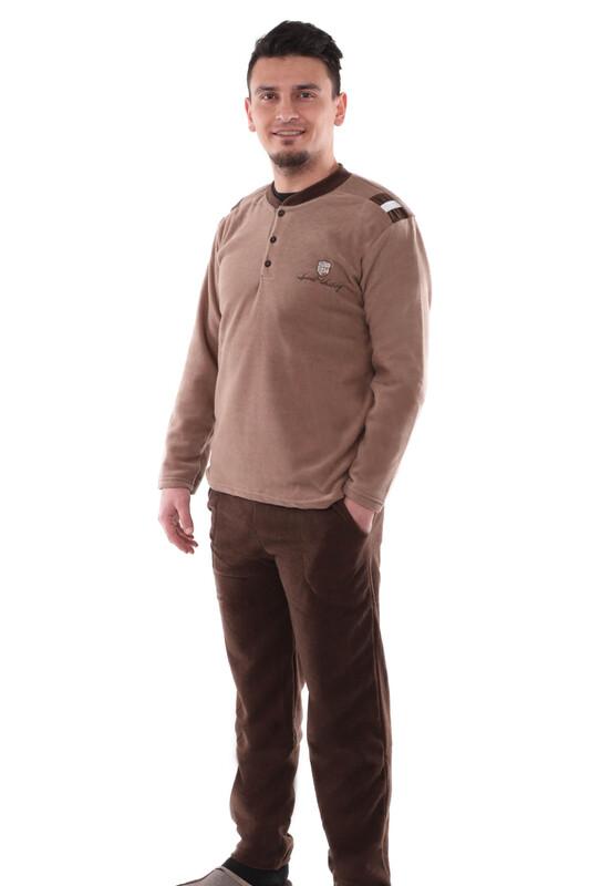 SUDE - Sude Erkek Polar Pijama Takımı   Kahverengi