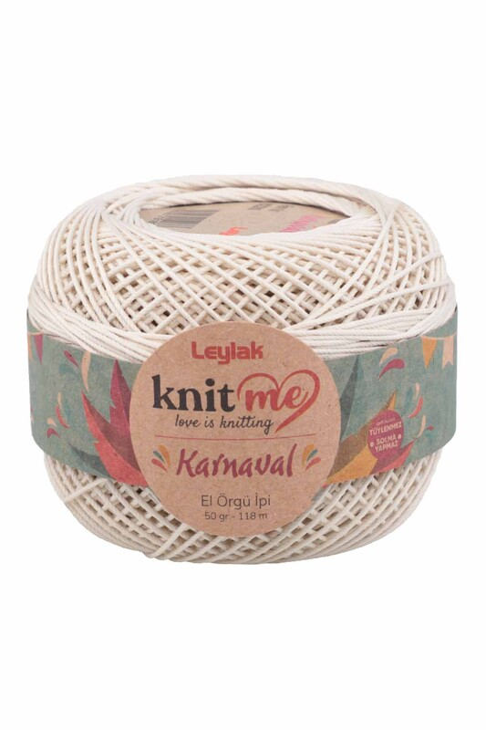 LEYLAK - Knit me Karnaval El Örgü İpi Ekru 02280 50 gr.