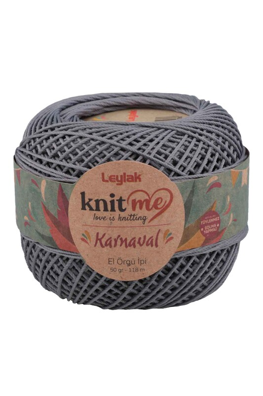 LEYLAK - Knit me Karnaval El Örgü İpi Koyu Gri 08097 50 gr.