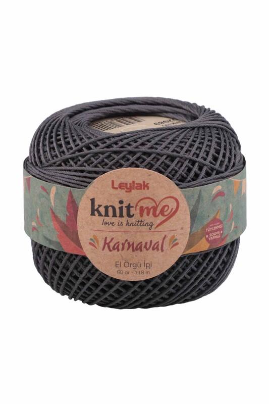 LEYLAK - Knit me Karnaval El Örgü İpi Antrasit 02989 50 gr.